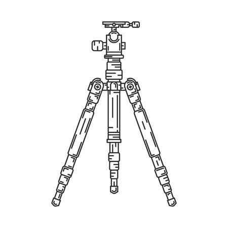 Line flat vector icon digital photographer professional equipment. Photography art. Photographic camera precast compact tripod. Cartoon style illustration, element design. Snapshot photo studio lens.