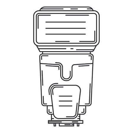 Line flat vector icon digital photographer professional equipment. Photography art. Photographic camera compact power flash, bulb. Cartoon style illustration, element design. Snapshot photo studio. Иллюстрация