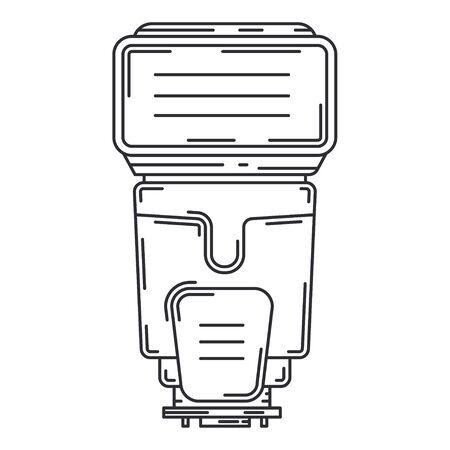 Line flat vector icon digital photographer professional equipment. Photography art. Photographic camera compact power flash, bulb. Cartoon style illustration, element design. Snapshot photo studio. Illustration