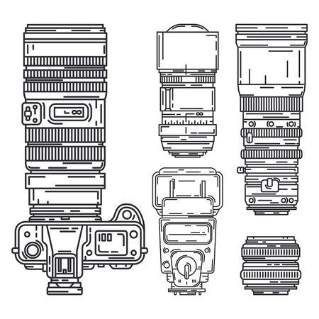 Line vector icon set digital photographer professional equipment. Photography art. Photographic tripod, camera, various lens, flash. Cartoon style illustration, element design. Snapshot photo studio.  イラスト・ベクター素材