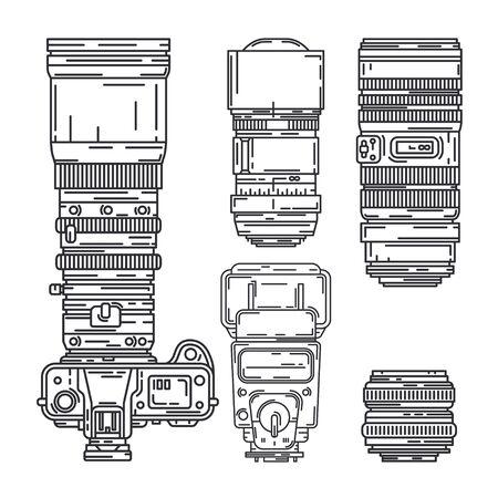 Line vector icon set digital photographer professional equipment. Photography art. Photographic tripod, camera, various lens, flash. Cartoon style illustration, element design. Snapshot photo studio. Illustration