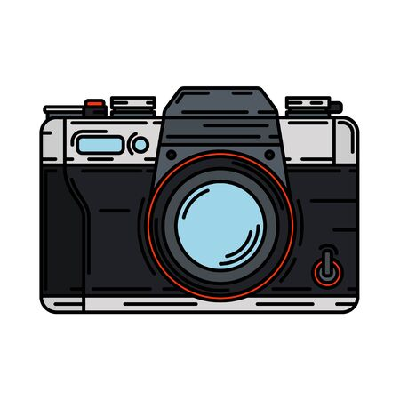 Color vector icon with digital slr professional camera. Photography art. Megapixel photocamera. Cartoon style illustration, element design. Photographic lens. Snapshot equipment. Digital photo studio.