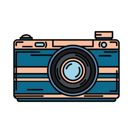 Color vector icon with digital slr professional camera. Photography art. Cartoon style illustration, element design. Photographic lens. Snapshot equipment. Digital photo studio.