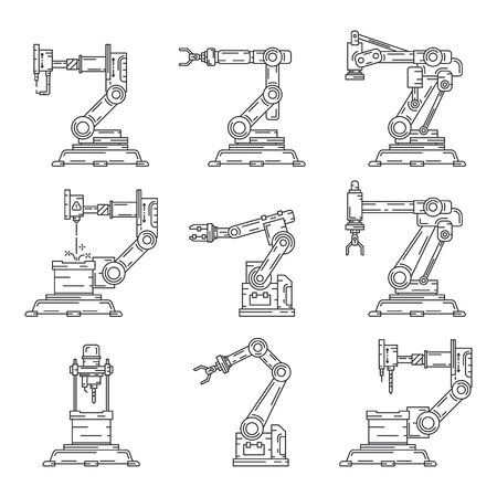 Line flat vector icon set factory conveyor robot arm system. Automatic industry assembly robotic machinery. Globalization laborer technology process. Mechanical worker. Cartoon style illustration. Stok Fotoğraf - 131898809