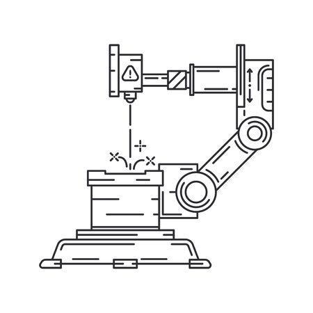 Line flat vector icon factory conveyor robot arm system. Automatic industry assembly robotic machinery. Globalization laborer technology process. Mechanical worker. Cartoon style illustration, design.