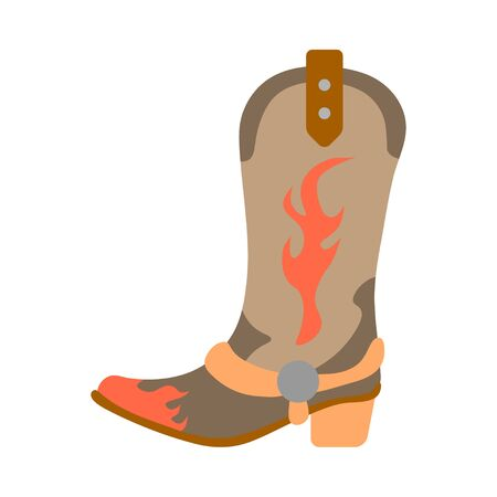 Vector illustration color icon with simplified leather cowboy boots. Wild west cowboy authentic symbol. Background american folkloric decoration ethnic vintage object. Equipment for rodeos and working