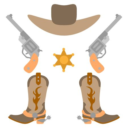 Vector illustration color icon set simplified leather cowboy boots and hat, sheriff star, revolvers. Wild west cowboy authentic symbol. Background american vintage object. Equipment for rodeo riding
