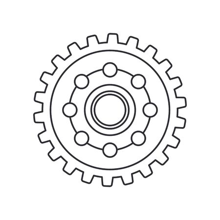 Line vector icon auto moto parts accessories drive gear. Repair service equipment. Engine elements shop catalog. Vintage vehicle symbol. Retro motorcycle mechanic. Graphic design element background.