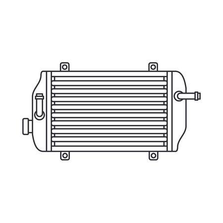 Line vector icon auto moto parts accessories radiator. Repair service equipment. Engine elements shop catalog. Vintage vehicle symbol. Retro motorcycle mechanic. Graphic design element background.
