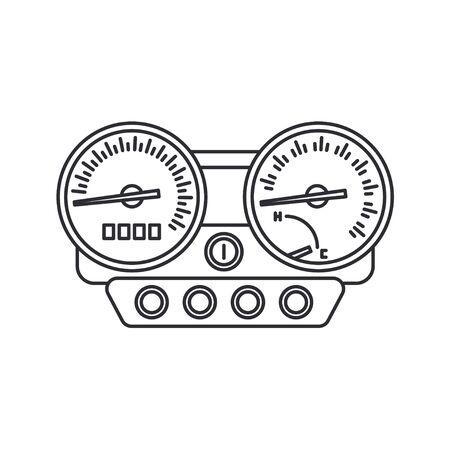 Line vector icon auto moto parts accessories control panel speedometer. Repair service equipment. Engine elements shop catalog. Vintage vehicle symbol. Retro motorcycle. Graphic element for background