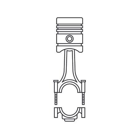Line vector icon auto moto parts accessories - piston. Repair service equipment. Engine elements shop catalog. Vintage vehicle symbol. Retro motorcycle mechanic. Graphic design element for background.