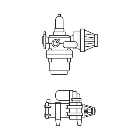 Line vector icon set moto parts accessories electric starter. Repair service equipment. Engine elements shop catalog. Vintage vehicle symbol. Motorcycle mechanic. Transportation. Elements background.