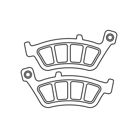Line vector icon auto moto parts accessories brake cylinder. Repair service equipment. Engine elements shop catalog. Vintage vehicle symbol. Retro motorcycle mechanic. Design element for background. Ilustração Vetorial