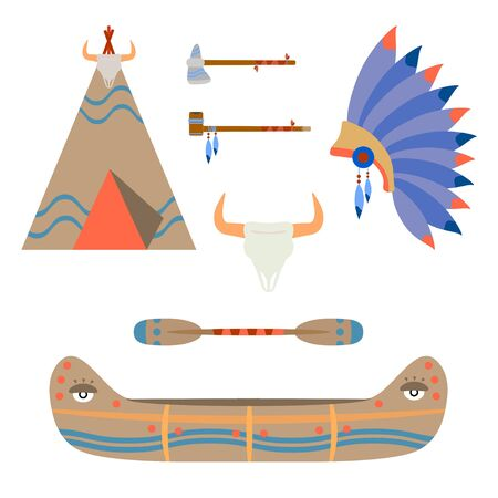 Vector color illustration icon set with ceremonial indian chief leather canoe, tomahawk, crown, wigwam, smoking pipe. Wild west american folkloric decoration. Authentic object. Indigenous peoples.