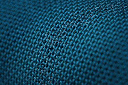 mechanical radiator: Audio speakers blue wicker cover - macro shot for background