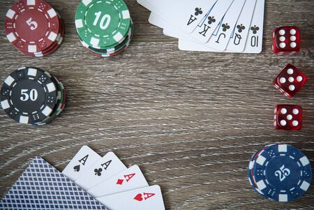 gambling counter: Gambling chips frame on card table background