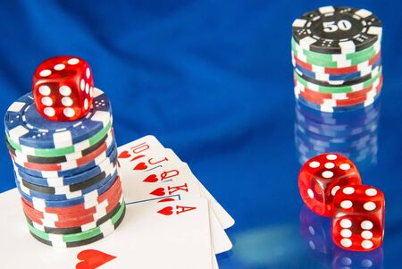 gambling counter: Gambling chips frame and card for poker on blue mirror background