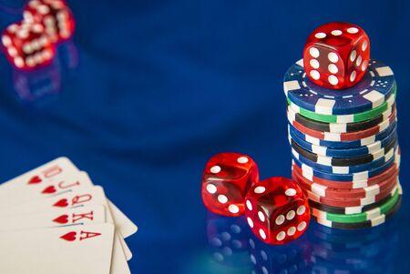 flush: Gambling chips frame and flush royal on blue mirror background