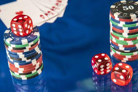 flush: Gambling chips frame and poker flush royal on blue mirror background