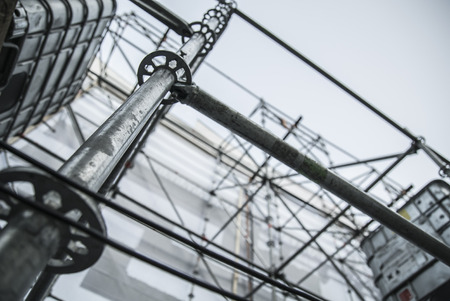 steelwork: Extensive scaffolding providing platforms for stage structure support