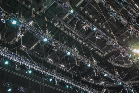 stage lighting: Extensive scaffolding providing platforms lighting devices for stage structure support