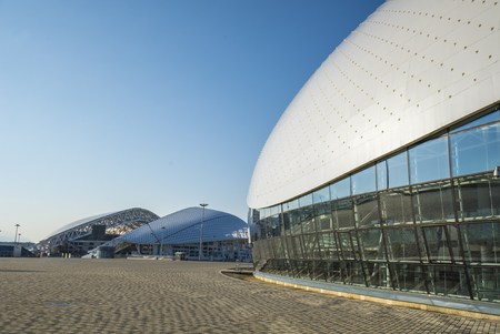 fisht: Sochi, Russia - July 16: Bolshoy Ice Dome with Stadium Fisht background on July 16, 2016 Editorial