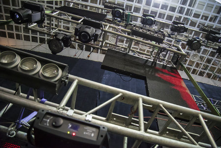 scaffolder: Extensive scaffolding providing platforms lighting devices for stage structure support