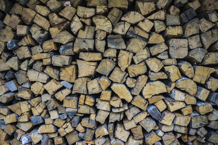 firewood background: Wall firewood. Background of dry chopped firewood logs in a pile