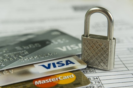 Krasnodar, Russia - October 30, 2017 : Protection of credit Visa and Master cards against hacker attacks. Editorial
