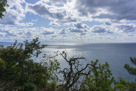 Beautiful view of the Black Sea from top of the hill of the green rain forest. Blue sky with clouds. Sun light reflection. Zdjęcie Seryjne