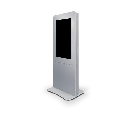 대화 형 정보 키오스크 단말기는 터치 스크린 디스플레이 스탠드, 흰색 배경