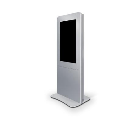 Interactive Information Kiosk Terminal Stand Touch Screen Display, white background Stock Photo