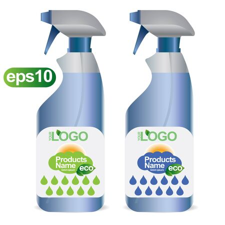 freshener: White plastic bottle for cosmetic. Pack for freshener, liquid detergent. Ready for your logo design. EPS10.