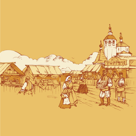 bagels: People walk near the stalls with food. On the shelves of fish, bagels, pastries, cakes. The church and clouds in the background. In the sky flying bird. Historic style. Vector pencil drawing.