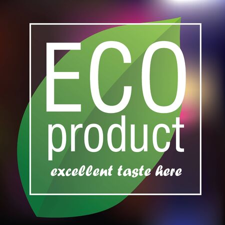 leave: Eco Product poster. Green leave on the abstract blured color. Eps 10 vector file.