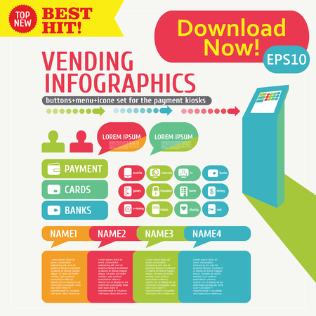 Infographic set icons and menu for payment Kiosk, Stand, or terminal