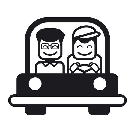 driving a car: Hombre joven con un amigo conducir un coche. Ilustraci�n vectorial de una alegre conducci�n joven. Ilustraci�n blanco y negro.