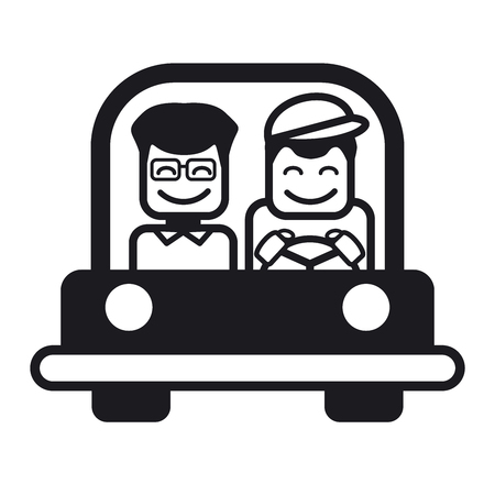 trucker: Young man with a friend driving a car. Vector illustration of a cheerful young man driving. Black and white illustration.