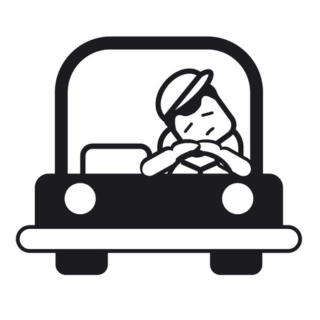 Tired sleepy young man driving a car. Vector illustration of a cheerful young man driving. Black and white illustration.