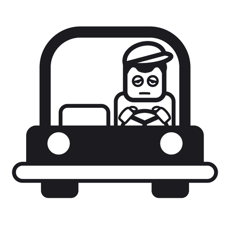 sleepy man: Tired sleepy young man driving a car. Vector illustration of a cheerful young man driving. Black and white illustration.