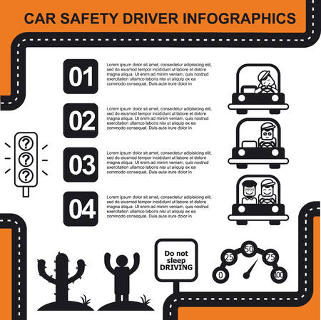 happy driver: Car safety driver infographic, black and white