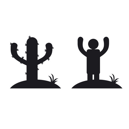 icone: Cactus and man, black and white icone. Optical illusion vector illustration Illustration