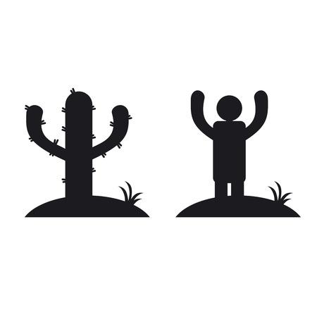 Cactus et l'homme, icone noir et blanc. Illusion d'optique illustration vectorielle Vecteurs