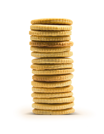 work path: Stack of crackers isolated on white background with work path