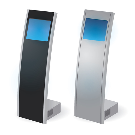 a touch: Interactive Information Kiosk Terminal Stand Touch Screen Display, white background Illustration