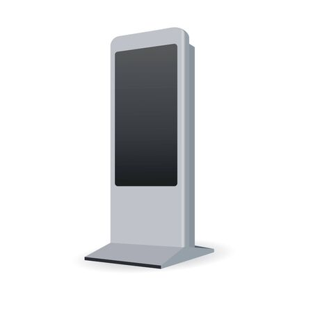 touch: Vector Interactive Information Kiosk Terminal Stand Touch Screen Display, white background Illustration