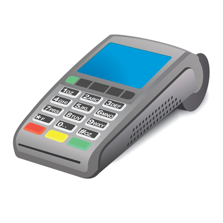 pos: POS terminal with blue screen on white background Illustration