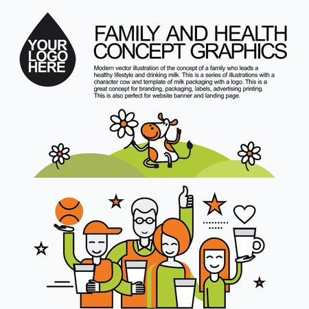 Concept van een familie die een gezonde levensstijl en het drinken van melk leidt. Karakter koe melk verpakking met een logo voor branding, verpakking, reclame drukwerk, voor de website banner en landing page.