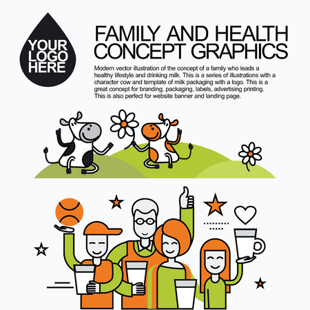 lady cow: Concept of a family who leads a healthy lifestyle and drinking milk. Character cow for milk packaging with a logo for branding, packaging, advertising printing, for website banner and landing page. Illustration