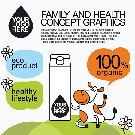 lady cow: Concept of a family who leads a healthy lifestyle and drinking milk. Character cow for milk packaging with a for branding, packaging, advertising printing, for website banner and landing page.